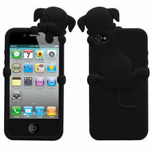 For iPhone 4 4S Rubber SILICONE Skin Soft Gel Case Phone Cover Black Peeking Dog