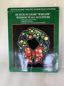 "VTG 18"" 35 Light Wreath Window Wall Sculpture Transparant Indoor Outdoor Works"