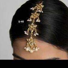 Ethnic Women Gold Plated Pearl Indian Bollywood Maang Tikka Forehead Wedding Set