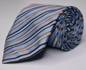 * Brioni * Light Blue W/ Gold & Brown Striped Silk Cotton Hand Made Necktie