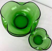 Vintage Depression Glass Green Folded Rim Matching Bowl Emerald Chip Dip 2 Pc