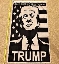 Donald Trump Flag FREE SHIPPING Rare Black and White 3x5' Digital Print Banner