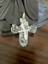 Mother of Pearl Cross Pendant Antique Natural Raw Silver and inlaid