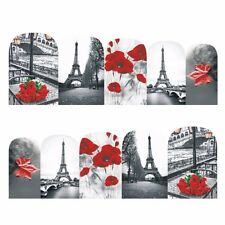 Nail Art Stickers Water Decals Transfers Paris Red Flowers (DB378)