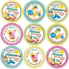144 Schools out for Summer - End of Term Year Teacher Reward Stickers Size 30 mm