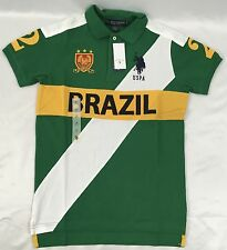 U.S. Polo Assn. USPA Polo Shirt Slim Fit 11696988 NWT Green Yellow Brazil Size M