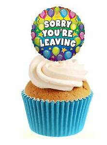 Novelty Sorry You're Leaving Balloon 12 Edible Stand Up wafer paper cake toppers