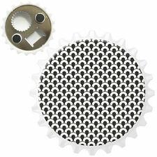 Black & White Scallops Bottle Opener Fridge Magnet
