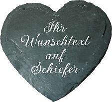 Schiefer Herz mit Gravur Wunschtext Geschenk Hochzeit Geburtstag Jubiläum Grab