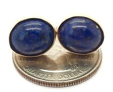 14k yellow gold 11 TCW lapis lazuli bezel set stud earrings natural cabochon