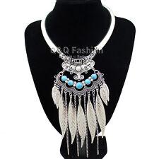 Silver Feather Leaf Turquoise Filigree Torque Zuni Navajo Collar Bib Necklace