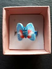 New childs blue butterfly cute hand made ring UK size K! Childrens jewellery!