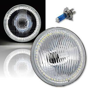 "7"" Halogen H4 Stock Headlight Headlamp White SMD 45-LED Halo Angel Eye Light 12V"