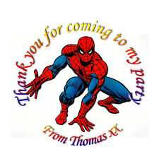 35 x Personalised Spiderman inspired Labels Stickers Party Seals sweet cone bags