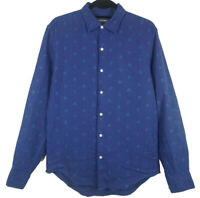 Bonobos Mens 100% Linen Blue Palm Tree Button Long Sleeve Shirt Size S