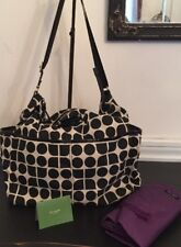 Kate Spade Serena Diaper Baby Bag Black Oyster Purple Interior Changing Pad