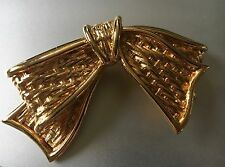 GRANDE BROCHE NOEUD METAL DORE COUTURE