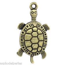 3 breloques tortue couleur bronze 30 x 16 mm
