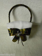 Wedding Party Ceremony Camo Flower girl Basket Deer Hunter Hunting