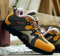 Men's Fur Lined Outdoor Lace Up Hiking Sneakers Breathable Winter Warm Shoes