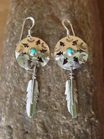Native American Jewelry Sterling Silver Turquoise War Shield Feather Earrings -