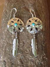Native American Jewelry Sterling Silver Turquoise War Shield Feather Earrings