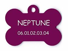 medaille gravee chien ou chat - modele grand os neptune - violette