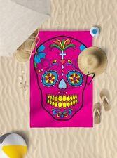 147cm x 99.1cm Rosa Caramelo diseño de calaveras Microfibra Toalla Playa Sol