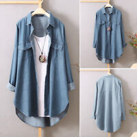 UK Womens Long Sleeve Button Down Shirts Ladies Casual Loose Denim Tops Blouses