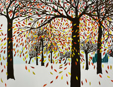 Ann T. Cooper Autumn Falling Leaves 1980 Signed Limited Edition Silkscreen