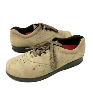 SAS Leather Lace Up Tripad Comfort Walking Beige Shoes Brown Wide Mens Size 10 M