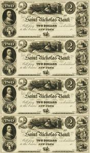 $2 Santa Claus St Saint Nicholas Note Full Sheet New York NY Bank - REPRODUCTION