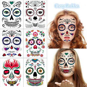 Day of the Dead Temporary Face Tattoo Sheet Halloween Costume Make Up 197*160mm