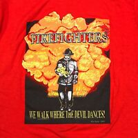 VTG FIREFIGHTERS WE WALK SINGLE STITCH 90s USA MADE RED VINTAGE TEE T SHIRT XL