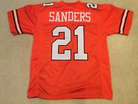 UNSIGNED CUSTOM Sewn Stitched Barry Sanders Orange Jersey - M, L, XL, 2XL
