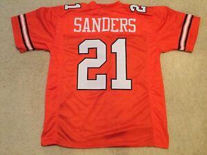 UNSIGNED CUSTOM Sewn Stitched Barry Sanders Orange Jersey - M, L, XL, 2XL