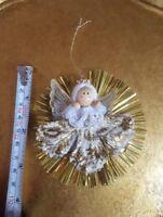 Gold angel Christmas xmas tree holiday season Ornament Vintage