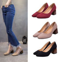 Women Casual Solid Suede Slip On Shallow Shoes Square Heel Block Pumps Gladiator