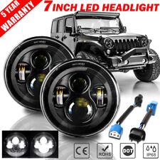 "Pair 7"" inch LED Headlights Black Sealed DOT Lamp for Jeep Wrangler JK TJ LJ CJ"