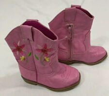 Sonoma Toddler Girl Cowgirl Boots Size 5 Pink W/Decorative Stitching NEW