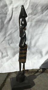 Afrikanische Figur, Frau (schwanger), Holz, Handarbeit, Vintage, gebraucht, 24cm