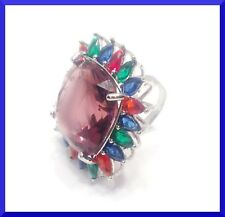 New Multicolor Large Fashion Cluster Ring Size 7 FREE SHIPPING  #171