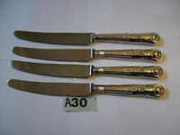 VINTAGE EPNS A1 KINGS SILVER PLATED QUALITY TABLE DINNER KNIVES X 4