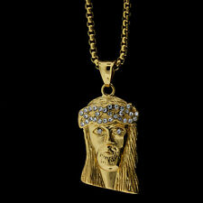 "MENS ICED OUT 14K GOLD PLATED MINI JESUS FACE PENDANT & 24"" FRANCO CHAIN *NEW*"
