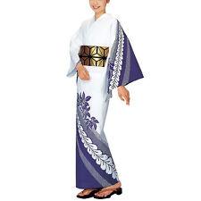 Japanese Yukata purple wisteria design #5 for women summer kimono cloth Wafuku
