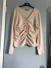 Womens Cream Button Down Ruched Jumper Cardigan L 14