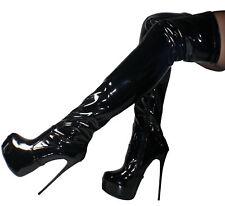Erogance Patent Platform Ultra High Heels Overknee Boots Gr.37-46 New 5335 Black