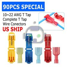 90pc Insulated 22-10 AWG T-Taps Quick Splice Wire Terminal Connectors Combo Kit