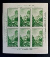 US Stamps, Scott #751 1934 Souvenir sheet 1c pane of 6 XF/Superb M/NH. Fresh