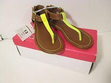 Nwob Girls Xhilaration 13 Camel Brown~Neon Yellow Holleen Sandals Shoes~Back Zip
